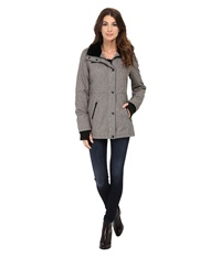 Jessica Simpson Zip Front Soft Shell With Faux Fur Heather Grey Women's Clothing Gray