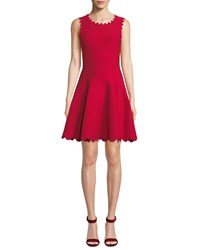 Alaia Floral Embossed Scallop Trimmed Dress Red