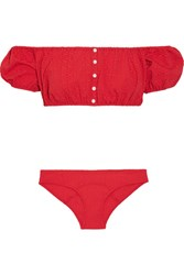 Lisa Marie Fernandez Leandra Off The Shoulder Seersucker Bikini Tomato Red