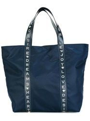 Red Valentino Embossed Leather Strap Tote Bag Blue