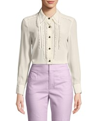 Coach Point Collar Ruffle Button Down Top Cream