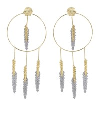 Maje Nacre Palm Tree Leaf Hoop Earrings Female Gold