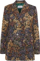 Sandro Alma Double Breasted Floral Jacquard Coat Mustard