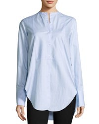 Helmut Lang Oxford Stripe Tuxedo Shirt Medium Blue