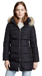 Add Down Hooded Coat With Fur Navy