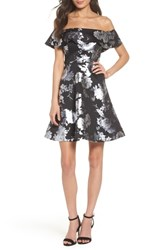 Sequin Hearts Off The Shoulder Foil Scuba Fit And Flare Dress Black Silver
