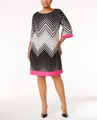 Sandra Darren Plus Size Geo Print Shift Dress Ivory Black Pink