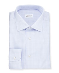 Brioni Soft Plaid Woven Dress Shirt Blue Lavender