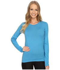 Icebreaker Oasis Long Sleeve Crewe Cyan Women's Long Sleeve Pullover Blue
