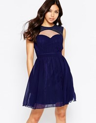 Little Mistress Skater Dress With Cut Out Detail Navy