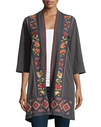Jwla Carolina Embroidered Cardigan Charcoal G