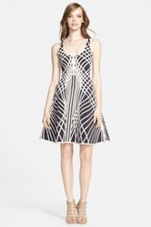 Herve Leger Contrast Graphic Pattern Fit And Flare Dress Multi