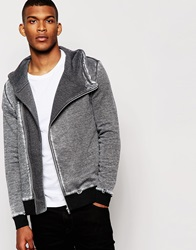 Asos Hoodie With Asymmetric Zip And Distressed Burn Out Grey