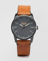 Barbour Jarrow Leather Watch In Tan Tan