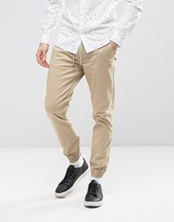 Selected Homme Cuffed Chinos With Drawstring Waist White Pepper Beige