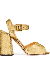 Charlotte Olympia Emma Glittered Leather Sandals Gold