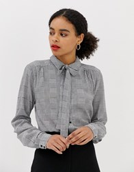 Minimum Gingham Pussybow Blouse Multi