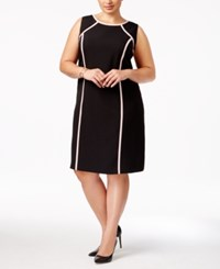 Kasper Plus Size Contrast Trim Sheath Dress Black Tutu Pink