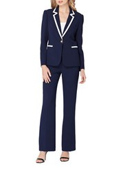 Tahari By Arthur S. Levine Contrast Frame Two Piece Jacket And Pant Suit Navy White