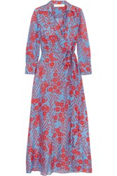 Diane Von Furstenberg Floral Print Cotton And Silk Blend Maxi Dress Light Blue