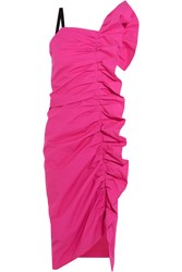 Isa Arfen Ruffled Stretch Cotton Dress Fuchsia