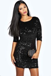 Boohoo Sequin Long Sleeve Bodycon Dress Black