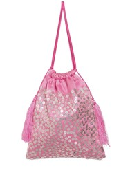 Attico Full Sequined Viscose Pouch Pink