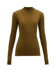 Bottega Veneta Wide Rib Knitted Wool Blend Sweater Dark Green