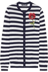 Dolce And Gabbana Embroidered Striped Cashmere Silk Blend Cardigan Black