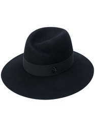 Maison Michel Virginie Fedora Hat Women Cotton Porcelain Wool Felt M Black