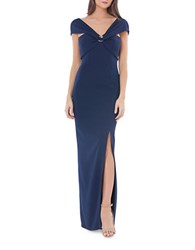 Js Collections Drape Front Slim Fit Gown Navy