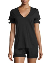 Helmut Lang Slit Cuff Cotton Jersey V Neck Tee Black