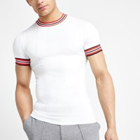 River Island White Muscle Fit Stripe Tripped T Shirt