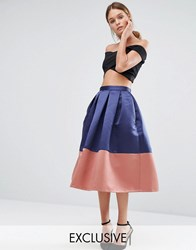 Closet London Midi Prom Skirt With Contrast Panel Navy
