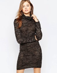 B.Young High Neck Glitter Bodycon Dress Hazel Brown