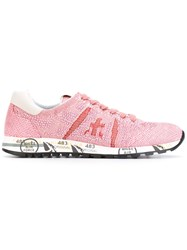 Premiata Embroidered Lace Up Sneakers Women Leather Nylon Rubber 36 Pink Purple