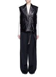 Helmut Lang Utility Pocket Lambskin Leather Biker Vest Black