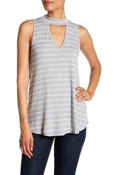 Chenault Striped Sleeveless Mock Neck Shirt Gray