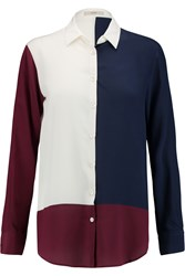 Etro Color Block Silk Shirt Blue