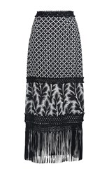Andrew Gn Printed Fringe Skirt Black White