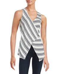 Red Haute Stripe Wrap Sleeveless Top White