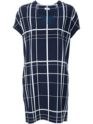 Vince V Neck Checked Dress Blue