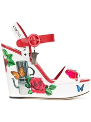 Dolce And Gabbana Floral Wedge Sandals White