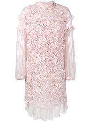 N 21 No21 Ruffled Embroidery Dress Pink And Purple