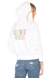 Lna Choose Happy Zip Up Hoodie White