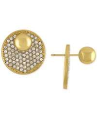 Rachel Roy Gold Tone Pave Disc Front And Back Earrings