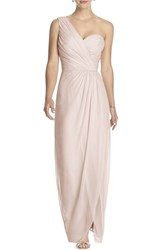 Women's Dessy Collection One Shoulder Draped Chiffon Gown Blush