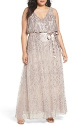 Marina Plus Size Women's Sequin Mesh Belted Long Dress Taupe