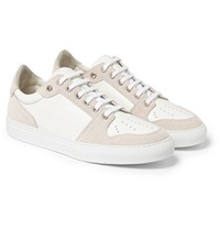 Ami Alexandre Mattiussi Suede And Textured Leather Sneakers White