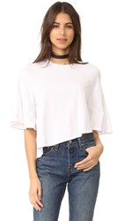 Kendall Kylie Asymmetrical Flutter Tee Bright White